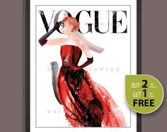 Fashion Illustration, fashion poster, fashion print, Vogue print, Vogue poster, Vogue cover, Vogue wall art, Vogue magazine 50s, 3267