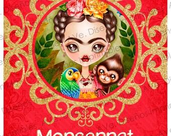 Frida Kahlo invitations for birthday, Frida Kahlo invitations for Baby Shower, Frida Kahlo invitations for bachelorette party