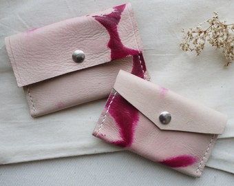 Tie die leather pink coin purse,  card holder.  Colour variation available.  Handmade in England.