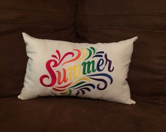 Embroidered Summer Pillow