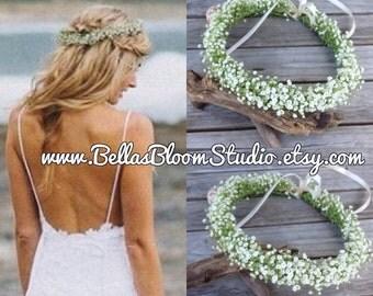Gia Baby's Breath -  Fresh Flower Crown, Floral Boho Head Piece, Bridal Flower crown Baby Breath Flower Halo communion headpiece