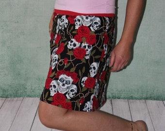 skirt mini skirt roses and skulls summer skirt