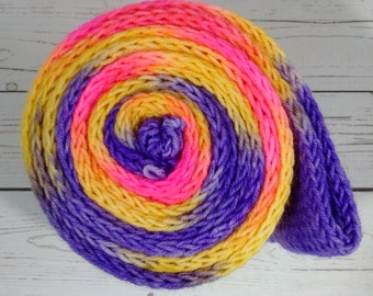 8 ply Squishy Sock Yarn, Hand Dyed, Merino, Nylon SW, 437 yd