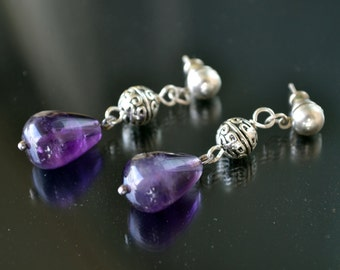 Amethyst Earrings, Silver Earrings, Gemstone Earrings, Lilac, Purple Earrings, Amethyst Jewelry (E170)