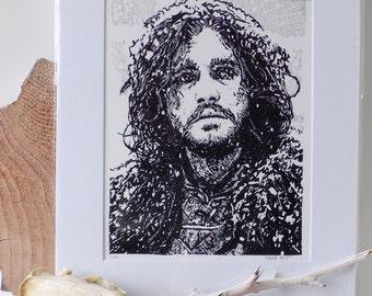 Jon Snow woodblock print, G.O.T.