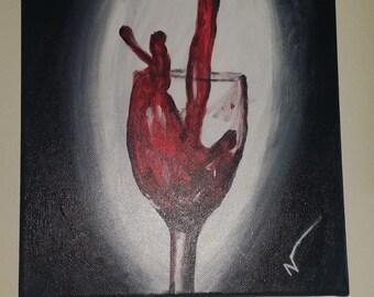 "Wine glass painting ""Splash  of wine""-original acrylic on canvas 14/11"