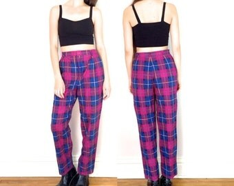 Summer Vacation SALE 80s 90s Pink and Blue Plaid High Waisted Pockets Pleated Pants