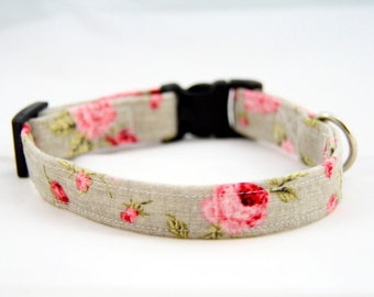 Covent Garden Floral Pink Rose Dog Collar