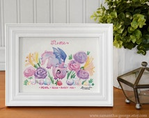 5x7 Print - June Birthstone Dragon - Pearl Print