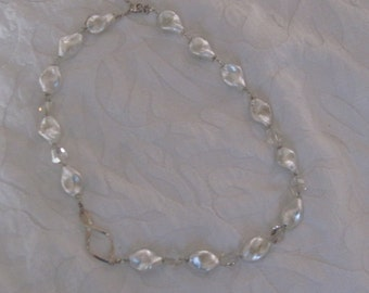 Handmade Gorgeous Murano Pearlized White Glass And Crystal Necklace .925 silver