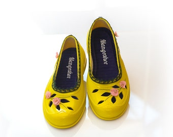 SALE, Mary Jane Shoes, Yellow Shoes, Rubber Shoes, Womens Shoes, Painted Shoes, Flower Flats, Casual Shoes, 60s Shoes, Fashion Flats