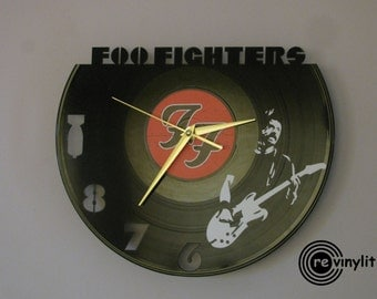Foo Fighters clock, vinyl record clock, Foo Fighters, Foo Fighters clock, vinyl wall clock, record wall clock, vinyl clock