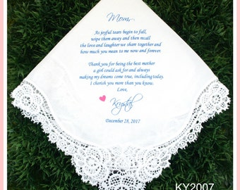 Mother of the Bride Handkerchief-Wedding Hankerchief-PRINTED-CUSTOMIZED-Wedding Hankies-Mother in Law Gift-Mother of the Bride Gift