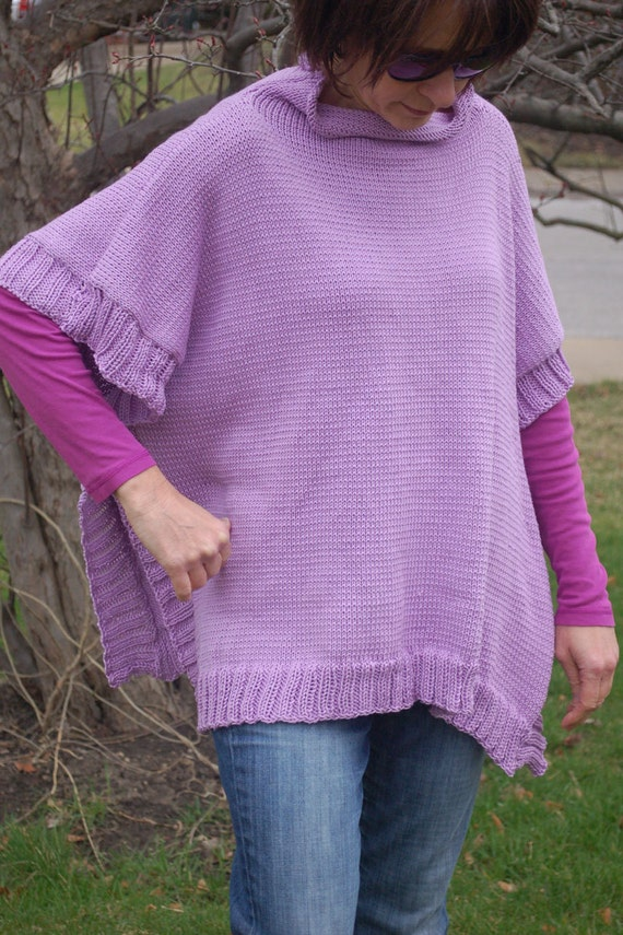 Knitting Pattern For Simple Poncho : Knitting Pattern Knit Poncho Womens Poncho Hand Knit