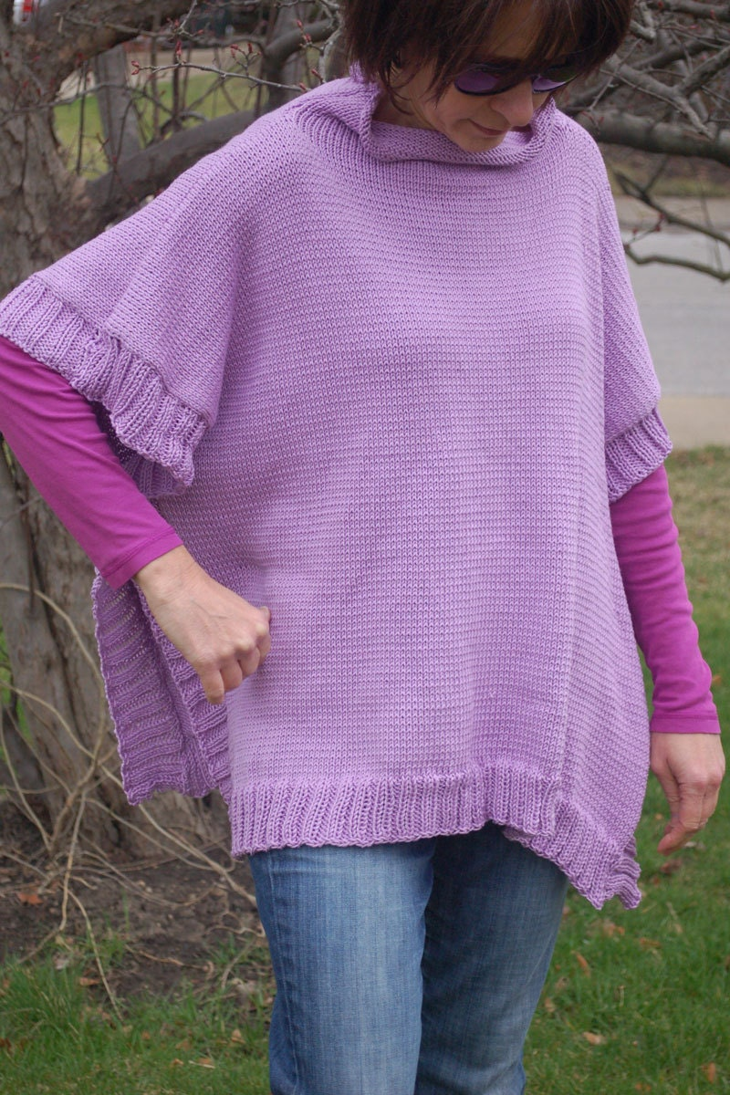 Pattern For Knitted Poncho : Knitting Pattern Knit Poncho Womens Poncho Hand Knit