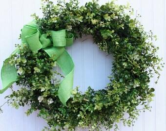 Boxwood Wreath, Farmhouse Decor, Spring Wreath,  Summer Wreath, Easter Wreath, Outdoor Wreath, Front Door Wreath, Green Wreath, Wreaths
