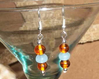 Amber Glass and Natural Aquamarine Beaded Hand Crafted Dangle Drop Silver Earrings