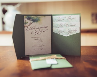 Woodland Script Wedding Invitation | Olive Green Woodland Rustic Invite | Forest Invitation Wallet | Humanist Wedding Invitation