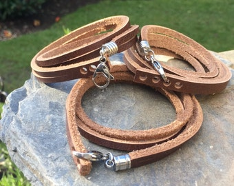 Double wrap brown leather bracelet