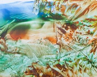 Encaustic 3, original, handmade wax painting, abstract on card