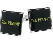 Mr Perfect Cufflinks Men Groom Wedding Wrester