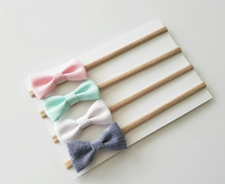 Baby Headbands Small Bows Baby Bows Nylon By Katesbowsshop