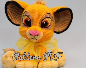 Lion Kion/Simba crochet pattern PDF, English USA, Rey Leon Simba, Spanish