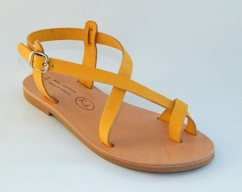 Greek Leather Sandals (41 - Yellow)