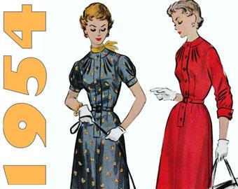 """1950s Teen Dress Pattern McCALLS 9823 bust 30"""" Rockabilly Dress Vintage Dress Pattern High Neck Dress 1950s Shirt Dress Pleated Neckline"""