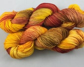 hand dyed sock yarn, fingering weight, superwash merino wool and nylon, 4 ply, multi-colorway DESERT SUNSET