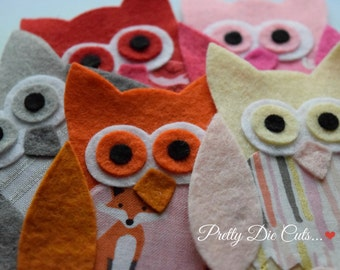 Felt and Fabric Owls, Owl Embelishments, Large Owls, Decorative Owls, Die Cut Birds, Owl Pack Felt Bird Shapes, Die Cut Craft Embellishments