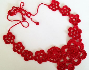Unique Red Crocheted Statement  Necklace Handmade