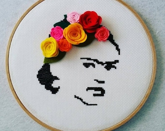 Frida Kahlo, Wall Art, Wall Decor, Frida Kahlo Hoop Art. Home Decor, Cross Stitch Hoop, Wall Hanging, Wall Hanging Decor, Gift For Her