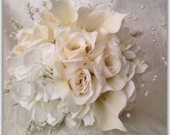 White bride bouquet set