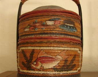 Antique Asian Wedding Basket, Traditional Chinese Marriage Basket, Hand Painted Fish Floral, Antique 1908, Stacking Basket, Carrying Handle