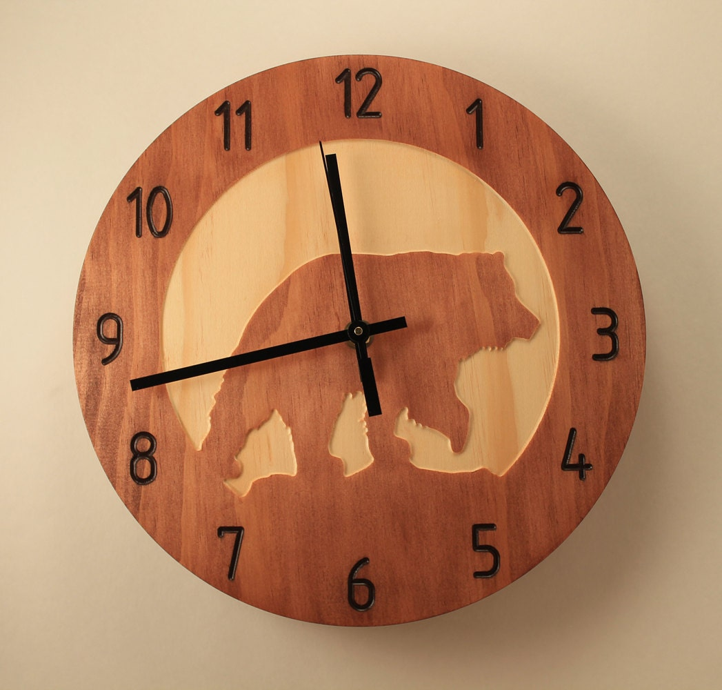 Pine Bear Clock Animal Clock Wildlife Clock Wood Clock Wall