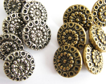 Silver or gold metal buttons with shanks, unused sewing buttons 19 mm / 3/4""