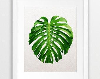 Monstera Leaf Printable Art, Tropical Monstera Leaf, Tropical Decor, Nature Photo, Green Decor, Plant Art, Botanical Print, Modern Wall Art