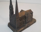 antique french metal cathedral of Chartres, France, french souvenir
