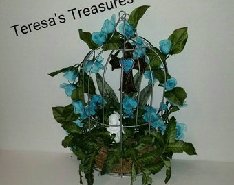 Unique Birdcage Hanger, Beautiful Floral Arrangement, Front Door Hanger, Wall Decoration,