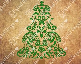 Swirl Christmas Tree svg - png - dxf - fcm - eps - ai Cut file - Silhouette - Cricut - Christmas Svg - Tree Svg -  Filigree Christmas Tree
