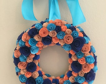 Paper flowers /Blue flowers/coral and orange flowers/Indigo Blue and Sunset flower wreath