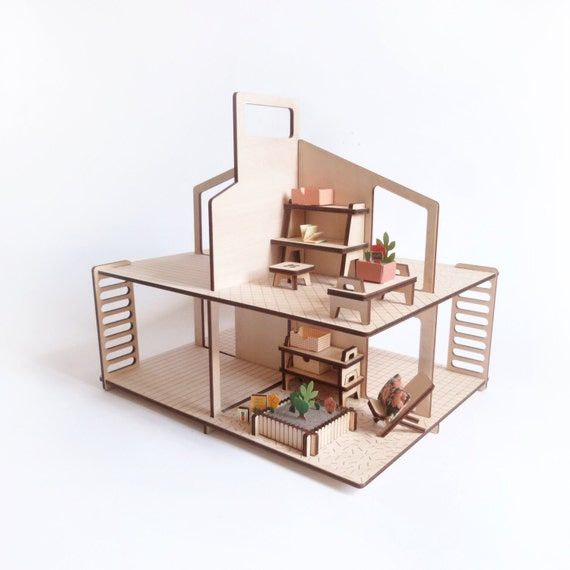 Diy Miniature Doll House Flat Packed Cardboard Kit Mini: Winter Garden / Wooden And Paper Furniture Kit For Doll's