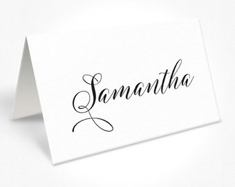 Black and White Wedding Place Cards, Romantic Modern Script Font, Free Colour Changes, DEPOSIT | Peach Perfect Australia