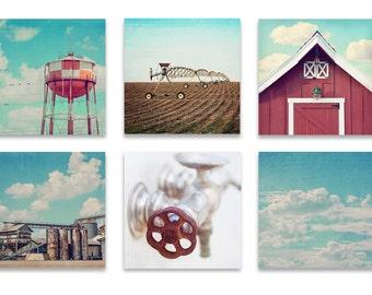 Industrial Farmhouse Wall Art, SET of SIX Prints or Canvases, Industrial Wall Art, Set of Four Farmhouse Prints, Red and Blue Wall Art Set