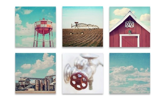 Items Similar To Industrial Farmhouse Wall Art SET Of SIX Prints Or Canvases Set Four Red And Blue