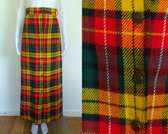 40%offAug18-21 60s tartan skirt size xs, plaid skirt, maxi skirt, button down, wool & acrylic skirt, 1960s mad men, red yellow green