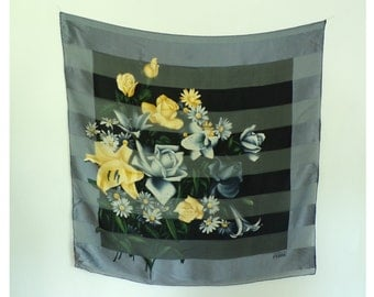 gianfranco ferre scarf, floral scarf, striped scarf, black gray yellow, designer scarf, 80s, 1980s, square scarf