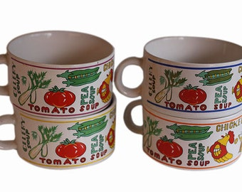Vintage Soup Bowls Mugs with Handles and Cute Graphics, 1970s Soup Bowls, Retro Bowls, Big Soup Mugs, Big Soup Bowls, Mid Century Pottery