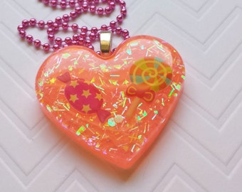 Candy Resin Heart, Resin Heart Jewelry, Candy Necklace, Candy Jewelry, Resin Heart Necklace, Resin Candy Pendant, Candy Heart Pendant